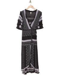 Raga Paulina Patchwork Print Midi Wrap Dress - Black