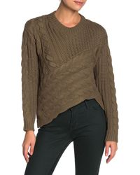 Line & Dot Vanessa Asymmetrical Cable Knit Sweater - Green