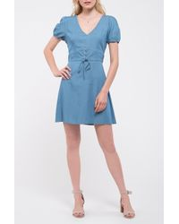 Blu Pepper Chambray Lace Mini Dress - Blue