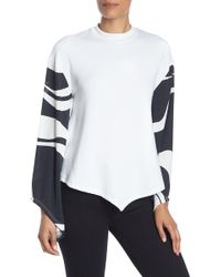 Go Couture Contrast Print Long Sleeve Blouse - White