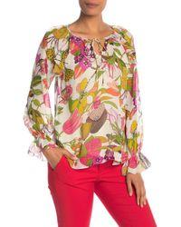 de097ffbf91fd4 Trina Turk - Magnolia Tropical Print Silk Blouse - Lyst