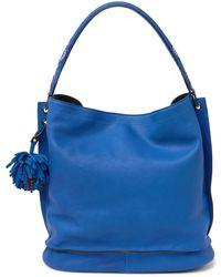 Longchamp Massai Embroidered Leather Shoulder Bag - Blue