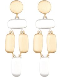 Lucky Brand - Two-tone Brushed Dangle Earrings - Lyst