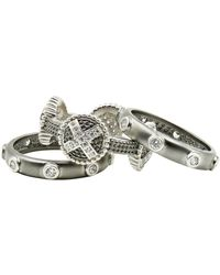 Freida Rothman - Two-tone Rhodium Plated Sterling Silver Industrial Pave Cz Stacking Rings - Set Of 3 - Size 6 - Lyst