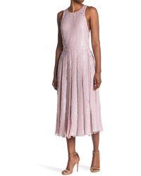 Tibi Eclair Sequined Silk Midi Dress - Pink