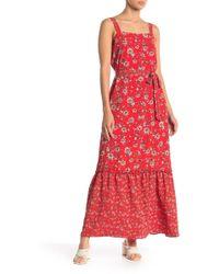 Bobeau Floral Mixed Media Bubble Crepe Dress - Red