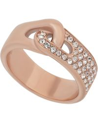 Swarovski - Gallon 18k Rose Gold Plated Pave Crystal Interlocked Band Ring - Size 6.75 - Lyst