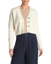 Faherty Brand Julianne Cable Knit Crop Cardigan - Natural