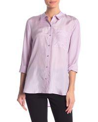 Eileen Fisher Classic Silk Button Front Shirt - Purple