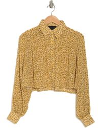 KNOWONECARES Shirred Floral Print Shirt - Yellow
