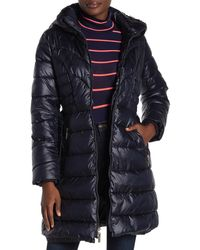Kensie Faux Fur Lined Quilted Coat - Blue