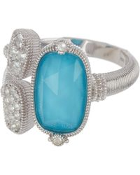 Judith Ripka - Sterling Silver Gold Coast Gemstone & Double Pave Station Ring - Size 7 - Lyst