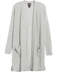 Halogen - Rib Knit Wool & Cashmere Cardigan - Lyst