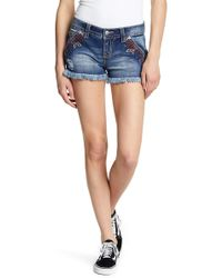 Miss Me - Floral Embroidery Signature Shorts - Lyst