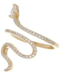 Adornia 14k Gold Plated Swarovski Crystal Accented Winding Snake Ring - Yellow