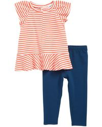 Splendid Stripe Peplum T-shirt & Leggings Set (baby) - Multicolour