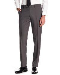 "Louis Raphael Stretch Micro Check Print Pants - 30-34"" Inseam - Grey"