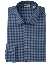 Kenneth Cole Reaction Flex Slim Fit Checkered Dress Shirt - Blue