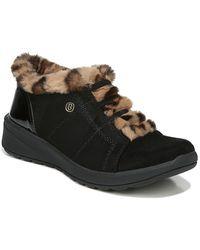 Bzees Golden Leopard Faux Fur Trim Wedge Slip-on Bootie - Black