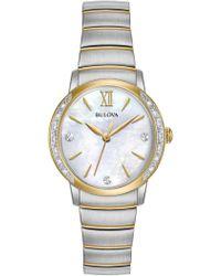 Bulova - Women's Diamonds Collection Two-tone Bracelet Watch - 0.07 Ctw - Lyst