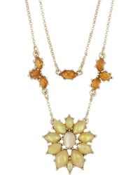 Lucky Brand - Citrine Stone Layered Collar Necklace - Lyst