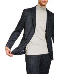 TOPMAN Tailored Pinstripe Suit Jacket - Blue