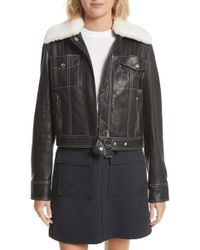 Jason Wu - Shrunken Leather Jacket With Removable Genuine Shearling Collar - Lyst