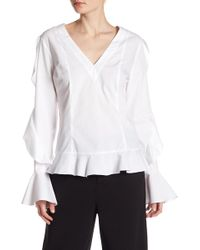 Romeo and Juliet Couture - Ruffle Sleeve Woven Blouse - Lyst