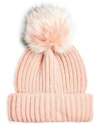TOPSHOP Pink Faux Fur Pom Beanie