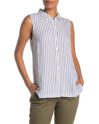 Tommy Bahama Porte Fino Sleeveless Linen Blend Stripe Blouse - Blue