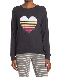 Pj Salvage Long Sleeve Print Top - Grey