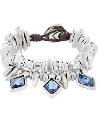 Uno De 50 Stalactite Bezel Set Swarovski Element Accented Beaded Multi-strand Bracelet - Blue