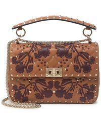 Valentino - Floral Print Leather Shoulder Bag In Light Cuir At Nordstrom Rack - Lyst