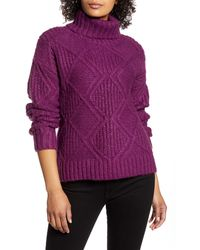 Caslon Caslon Chunky Cable Knit Turtleneck Sweater - Purple