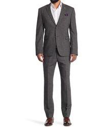 Original Penguin Charcoal Solid Two Button Notch Lapel Wool Blend Suit - Gray