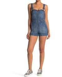 Alice + Olivia Gorgeous Overall Shorts - Blue
