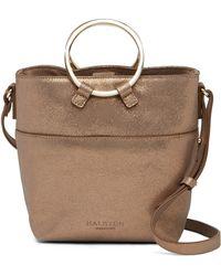 Halston - Small Metallic Leather Crossbody Bucket Bag - Lyst