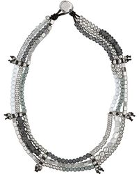 Uno De 50 - Balling Crystal Beaded 3-row Leather Tie Necklace - Lyst