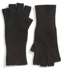 Halogen Cashmere Fingerless Gloves - Black