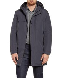 Andrew Marc Cagney Water Resistant Hooded Coat - Gray