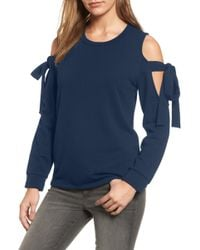 Pleione Cold Shoulder Tie Sleeve Sweatshirt - Blue