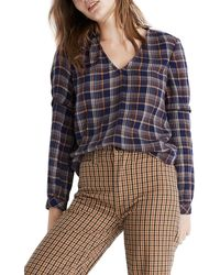 Madewell Plaid V-neck Ruffle Top - Blue