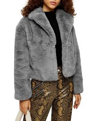 TOPSHOP Faux Fur Crop Jacket - Gray