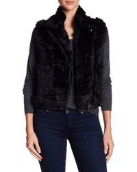 Surell - Genuine Rabbit Fur Short Moto Vest - Lyst
