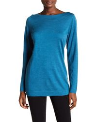 Eileen Fisher - Long Bateau Neck Wool Jumper - Lyst