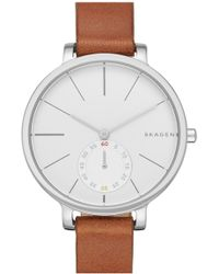 Skagen - Hagen Leather Strap Watch, 34mm - Lyst