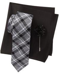 Original Penguin Hoopes Plaid Tie, Pocket Square, & Lapel Pin Set - Black