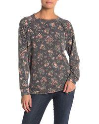 Caslon Floral Long Sleeve Cozy Sweatshirt - Gray