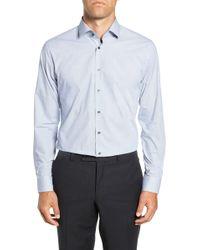 Calibrate Trim Fit Stretch Non-iron Geometric Dress Shirt - Multicolour