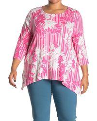 Ruby Rd. Hibiscus Stripe 3/4 Sleeve Top - Pink